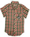 Lilliput Short Sleeve Plaid With Graphic Shirt - Pink/grey/beige