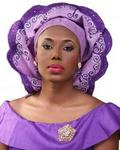 Opeke Pleated Gele With Embroidery -lilac Purple