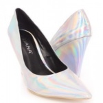 Liliana Holographic Silver Wedge Shoes
