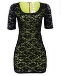 Pink Owl Lace Summer Dress - Lime Green/ Black